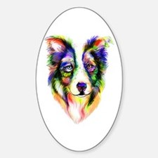 Bright Border Collie Oval Decal