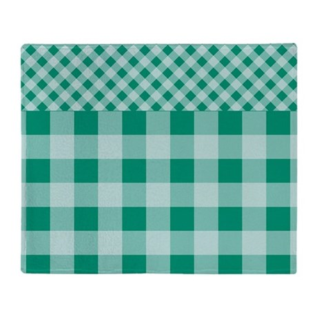 Emerald green gingham pattern throw blanket by zandiepants - Emerald green throw blanket ...