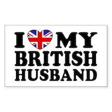 I Love My British Husband Rectangle Decal