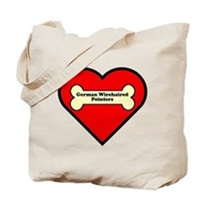 German Wirehaired Pointers Heart Tote Bag