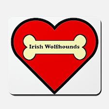 Irish Wolfhounds Heart Mousepad