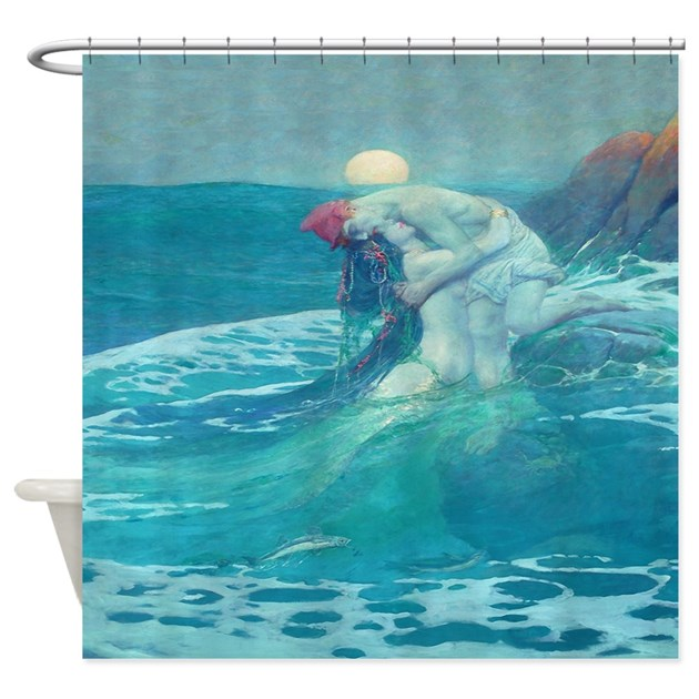 Vintage Mermaid And Mortal Shower Curtain By Rebeccakorpita