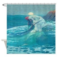Vintage Mermaid and Mortal Shower Curtain