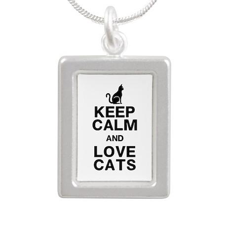 Keep Calm Love Cats Silver Portrait Necklace