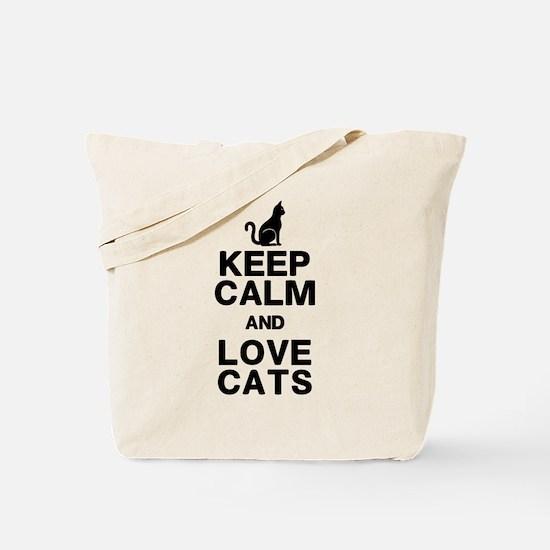Keep Calm Love Cats Tote Bag
