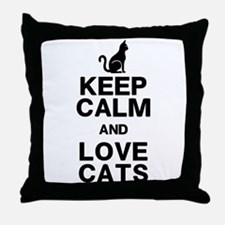 Keep Calm Love Cats Throw Pillow