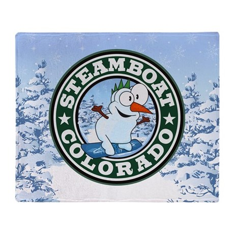 Steamboat Snowman Circle Throw Blanket