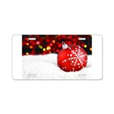 red christmas ornament Aluminum License Plate