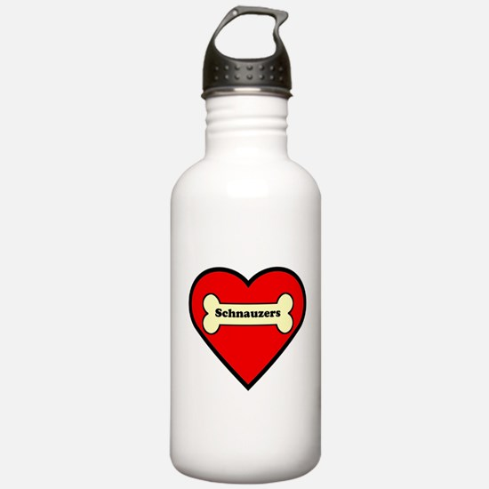 Schnauzers Heart Water Bottle