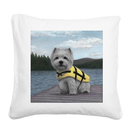 Truman at the Lake Square Canvas Pillow
