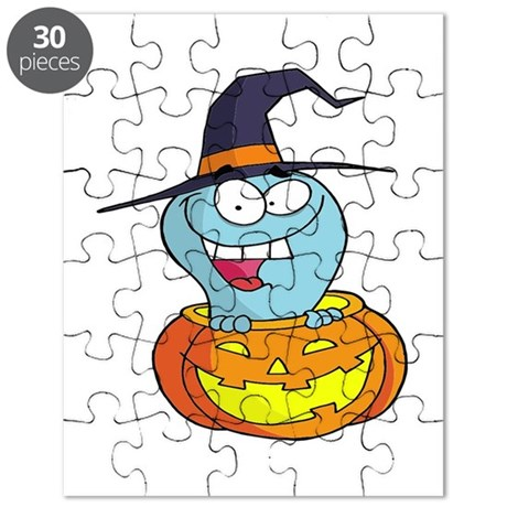 cute ghost witch in halloween pumpkin Puzzle