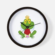 cute bride cartoon froggy frog Wall Clock