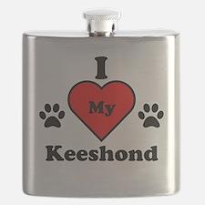 I Heart My Keeshond Flask