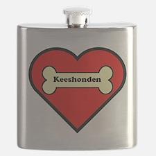 Keeshonden Heart Flask