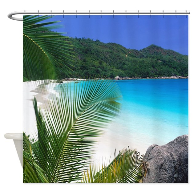 Paradise Beach: Tropical Paradise Beach Shower Curtain By Saponi