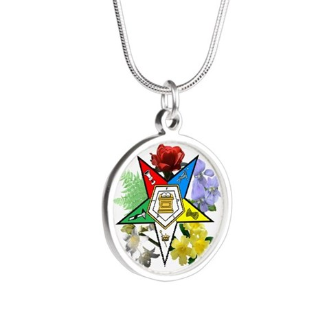 Eastern Star Floral Silver Round Necklace