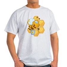 cute happy honey bee and honeycomb T-Shirt