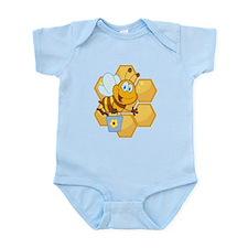 cute happy honey bee and honeycomb Infant Bodysuit