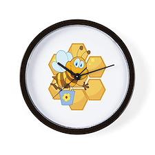 cute happy honey bee and honeycomb Wall Clock