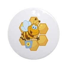 cute happy honey bee and honeycomb Ornament (Round