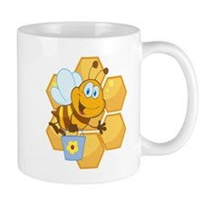 cute happy honey bee and honeycomb Mug