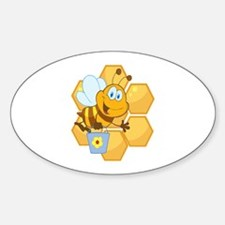 cute happy honey bee and honeycomb Sticker (Oval)