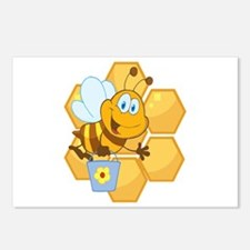 cute happy honey bee and honeycomb Postcards (Pack