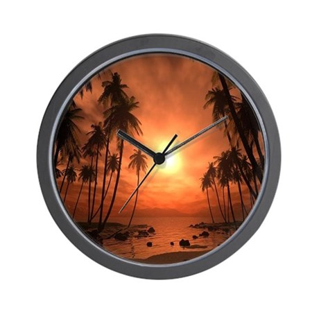 Colorful Beach Sunset Wall Clock