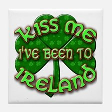 KISS ME I've Been to IRELAND Tile Coaster