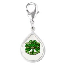 KISS ME I've Been to IRELAND Silver Teardrop Charm