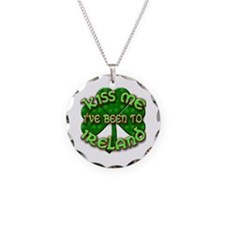 KISS ME I've Been to IRELAND Necklace Circle Charm