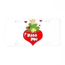 cute kiss me frog prince on heart cartoon Aluminum