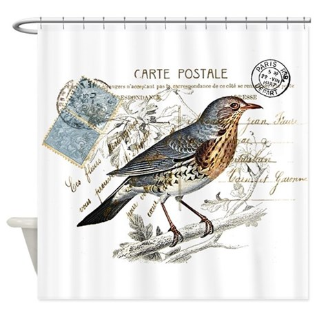 blue bird carte postale shower curtain by be inspired by life. Black Bedroom Furniture Sets. Home Design Ideas