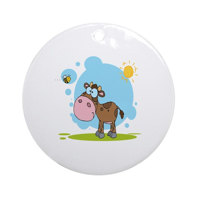 Cute Little Cow And Bumble Bee In The Sun Ornament By