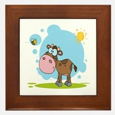 cute little cow and bumble bee in the sun Framed T