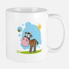cute little cow and bumble bee in the sun Mug