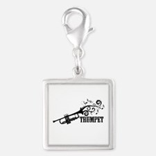 Trumpet with Swirls Silver Square Charm