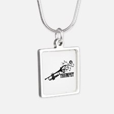 Trumpet with Swirls Silver Square Necklace