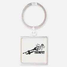 Trumpet with Swirls Square Keychain