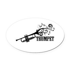 Trumpet with Swirls Oval Car Magnet