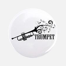 """Trumpet with Swirls 3.5"""" Button"""
