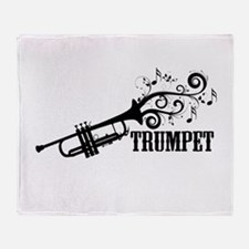 Trumpet with Swirls Throw Blanket