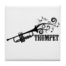 Trumpet with Swirls Tile Coaster