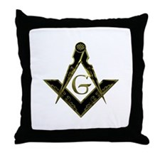 Metallic Square and Compasses Throw Pillow