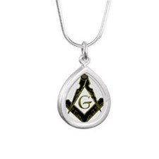 Metallic Square and Compasses Silver Teardrop Neck