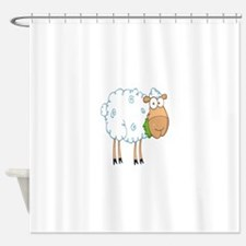 funky cartoon white sheep chewing grass Shower Cur