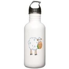 funky cartoon white sheep chewing grass Sports Water Bottle