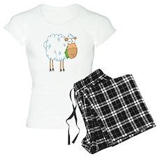 funky cartoon white sheep chewing grass Pajamas