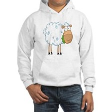 funky cartoon white sheep chewing grass Hoodie
