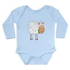 funky cartoon white sheep chewing grass Long Sleev